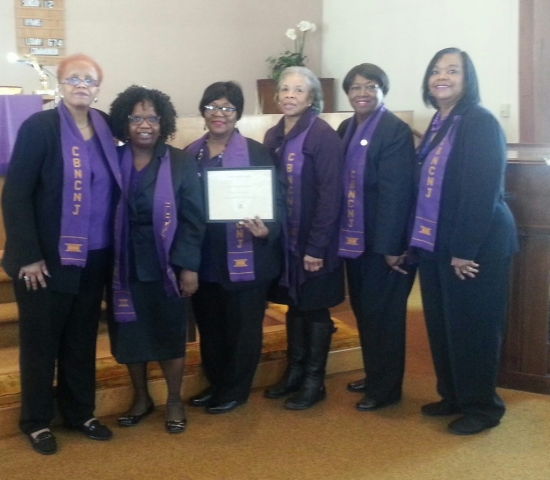 The CBNCNJ was honored with the Human Rights Reward by the Church Women United on March 17, 2017  left to right President Sandra Pritchard Tara Spaulding, Gail Williams, Gloria Bivins, Sheila Penn, Barbara Sunnerville