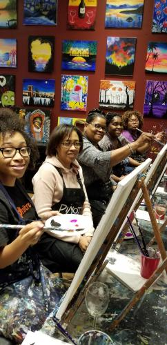 Sip and Paint Fundraiser with members from Integrated Black Nurses Association